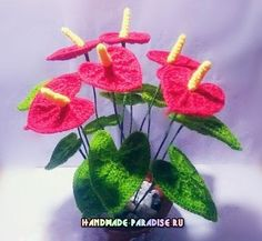 Anthurium flower Flamingo or crochet. Scheme (5)