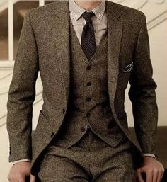Latest Coat Pant Designs Brand Brown Tweed Suit Men Set Slim Fit Custom Wedding Suits for Men Jacket Pants 3 Piece Blazer Tuxedo