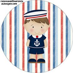 Oi Pessoal!!!!! Mais um kit para menino! Kit de Marinheiro Azul e vermelho, para decorar a festa do seu Garotão! O kit é completo com c... Round Border, Oh My Fiesta, Baby Stickers, Nautical Party, Sailor, Scrap, Kids Rugs, Quilts, Dina