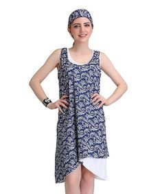 Loving this Blue & White Filigree Layered Sleeveless Dress & Head Band on #zulily! #zulilyfinds