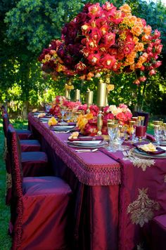 Asian Wedding Ideas - A UK Asian Wedding Blog: Jewel Tone Color Table Setting {Wedding Trend 2012}