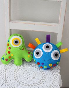 3 Happy monsters toy PDF sewing pattern toys for boys by Plushka
