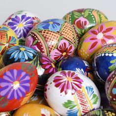 Polish painted wooden eggs