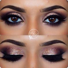 rose gold glitter smokey eye | perfect for nye? @makeupbymeggan | #glamour makeup