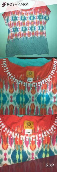 Vibrant Top Super vibrant colorful top by Ruby Rd. Purchased at Dillard's. Beads around the neckline. Gorgeous white real hot pink mint and orange colors on the top. Tops Blouses