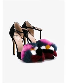 FENDI Suede Pumps with Mink and Fox Fur