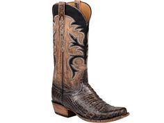 Shop New Lucchese L1377.73 Mens Caiman Crocodile and Mad Dog Goat Leather Western Cowboy Boots in Brown and Tan Stonewash.  Free Shipping | Harrison Avenue