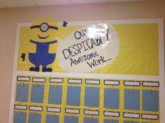 """Despicable Me bulletin board idea. """"Nothing to read? That's despicable! Find your next book at the library. We have a 'minion' of them. Minion Bulletin Board, Minion Classroom Theme, Minion Theme, 3rd Grade Classroom, Classroom Rules, Classroom Displays, Kindergarten Classroom, Future Classroom, Classroom Themes"""