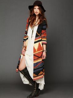 I'm in love with aztec prints this season...Free People Long Pattern Hooded Cardi, $168.00