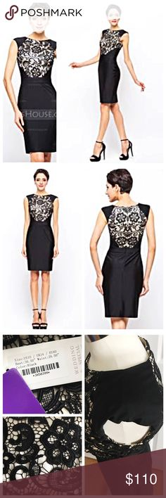 """NWT JJ'S House Black Lace Sheath Cocktail Dress New with tags black dress with lace overlay a light champagne beige color on top. Sheath / column style. Jersey. Scoop neck. Lined. From company: Bust 36.5"""" Waist 29.5"""" Hips 39.75"""" Size US 10 could also fit 8. Great as a gift! Comes in original packaging. Perfect for a wedding or holiday party! JJ'S House Dresses"""