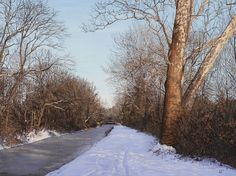"""Jeff Gola, Delaware Canal Towpath, December, 2015, egg tempera, 18 x 24"""""""