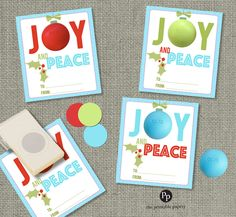 Holiday Christmas Gift Tags for EOS lip balm gifts | Teacher Gift Tags | Joy and Peace | Lip Balm Gift Tags | No. JOY-eos by ThePrintablePapery on Etsy