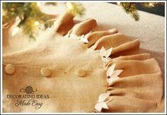 christmas tree skirt pattern, crafts, flowers, Burlap is so beautiful It can be rustic or elegant