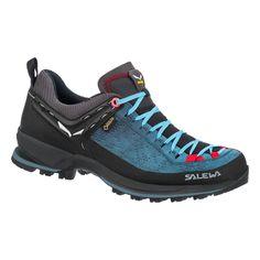Dámské boty Salewa Ws Mtn Trainer 2 Gtx s mezipodešví PU pro větší komfort a skvělou podrážkou, která vynikne především na sněhu, bahně, nebo ferratách Gore Tex, Good Grips, Lining Fabric, Dark Denim, Suede Leather, Hiking Boots, Trainers, Footwear, Heels