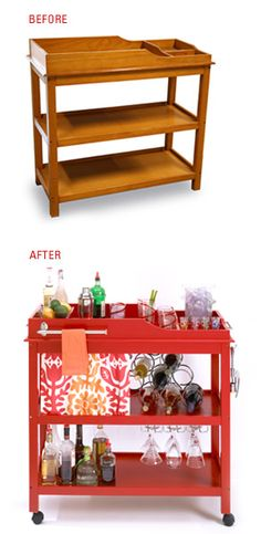 Changing table to bar cart, pretty clever!