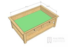 DIY train table with coffee table top insert plans -- cover up the trains when not in use