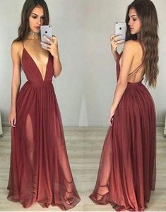 Prom Dresses ,prom gown,simple burgundy chiffon long prom dress for teens, evening dress by DestinyDress, $149.58 USD