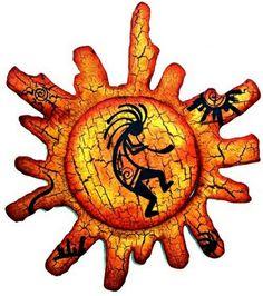 Sun With Painted Kokopelli Wall Decor