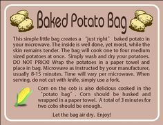 Instruction card for potato bag. Made for someone for their up coming craft fair.