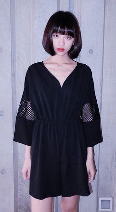 Hipster & indie 3/4 sleeved black V-neck cutout patchwork jumpsuit