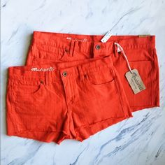 Madewell Red Denim Shorts Perfect for summer and the 4th of July! Basic red denim cutoff shorts. Flattering fit, vibrant color. Size 30 is NWT! Madewell Shorts Jean Shorts