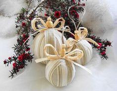 Rustic Christmas Ornaments | Fabric Christmas Ornament, Rustic Christmas Ornaments, Rag Balls ...