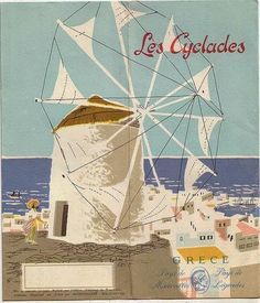 One for the Cyclades, a collection of over two hundred and twenty islands, the best known being; Mykonos and Santorini. Mykonos, Santorini, Tourism Poster, Poster Ads, Tybee Island Beach, Old Posters, Greek Decor, Amazing Street Art, Europe