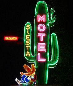 Sign and interior inspo, Mexico and California in one vibe. Neon Siesta Motel//Durango, CO