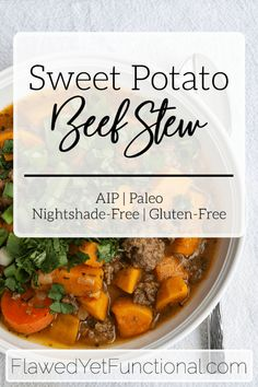 Try this hearty, AIP beef stew tonight! It is nightshade-free, dairy-free, gluten-free, and absolutely delicious! #AIP #dinner #glutenfree #dairyfree #nightshadefree
