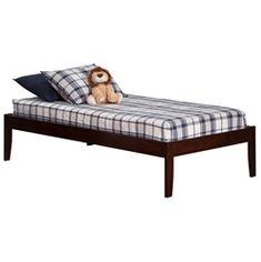 Concord Platform Bed with Open Footrails - Antique Walnut