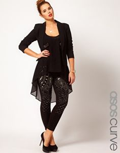 Image 1 of ASOS CURVE Leggings With Embellishment