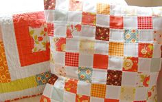 patchwork pillow by happy little cottage, via Flickr