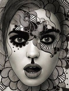 black and white drawing mixed with photography - Awesome! ~ Working over magazine photos would be a good exercise in contoured drawing and organic textures on a day when we need a fast art project. Arte Punch, 16 Tattoo, Art Visage, Arte Fashion, Illustration Art, Illustrations, Drawn Art, Hand Drawn, Maquillage Halloween