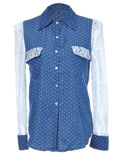 Anna-Kaci S/M Fit Blue Denim White Floral Lace Sleeved Chambray Button Up Shirt #Unbranded #BasicTee
