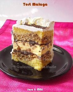 Malaga Cake ~ colors on your plate Romanian Desserts, Russian Desserts, Romanian Food, Sweets Recipes, Baking Recipes, Cake Recipes, Malaga, Torte Cake, Homemade Sweets