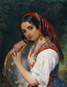 Pimen Nikitich Orlov 'A Shepherd Girl with a Tambourine' Spanish Girls, Spanish Woman, Drums Art, Exotic Art, Girl Artist, Russian Painting, Painting Of Girl, Tambourine, Classic Paintings