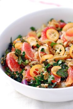 farro salad with blood orange, kumquat & kale - vegan