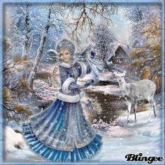 Ein wundervoller Wintertag ... Christmas Scenes, Cozy Christmas, Blue Christmas, Christmas Time, Christmas Cards, Vintage Christmas Images, Christmas Pictures, Vintage Images, Gifs