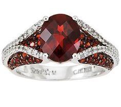 4.20 ct tw Garnet & Diamond Cut White Topaz Sterling Ring $189