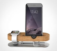 Charge your #iPhone and #Apple Watch with this elegant bamboo stand. Add a touch of class to the mundane. #Style