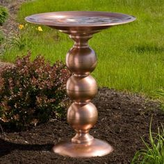Copper Topiary Pedestal Birdbath