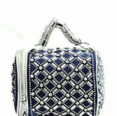 Handbag Beautiful round shape Jean handbag with silver design with rhinestones Bags Satchels