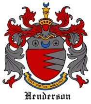 The coat of arms is one granted to the Henderson Scottish Clans. It shows a shield colored red on the left side and silver on the right, divided by a jagged horizontal line. At the top of the shield is a silver horizontal band on which is a blue crescent between two black ermine spots.