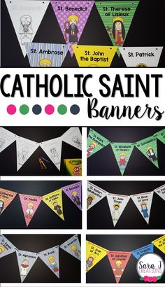Catholic Saint Banners are a great way for kids to learn about the Saints while having cute classroom decor to display in your classroom or church. Catholic Schools Week, Catholic Religious Education, Catholic Crafts, Catholic Religion, Catholic Kids, Catholic Homeschooling, Catholic Traditions, Catholic Catechism, Ccd Activities