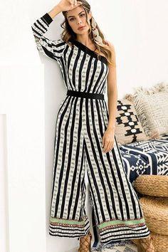 926ea9b239c5 Black-stripe One Shoulder Wide Leg Casual Jumpsuit