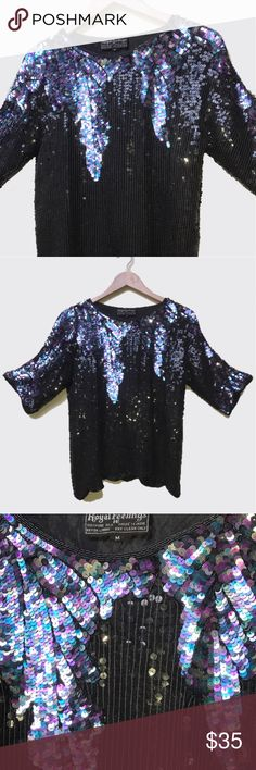 """•🔮🖤 VTG 80s Sequin Purple Leaf Club Top 🖤🔮• Serve disco-witch in all this shimmer 🕺🏿✔✨ a prism of purple & multi-color sequins drape down the shoulders, reminding me of hung lavender 🍇☔️✨• Royal Feelings • 💯% Silk • Made in India 🇮🇳 • M • Shoulder: 17"""" • Sleeve: 10"""" • Bust: 34"""" • Length: 19"""" • #vintage #vtg #retro #1980 #1980s #80 #80s #black #purple #club #disco #nightlife #witchy #party #formal #silk #beaded #sparkly #sequin #sequins #sequence #top #blouse Vintage Tops Blouses"""
