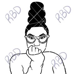 Black N White Images, Black And White, Pineapple Bun, Short Afro, Blue Design, Eye Glasses, Vector File, Pink Sweater, Locs