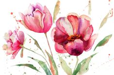 Art Painting - Three Tulips Flowers  by Regina Jershova