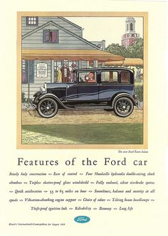 1929 Model A Ford Town Sedan Ad by Boats-n-Cars, via Flickr