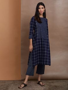 Navy Blue Cotton Checkered Kurta with Pants - Set of 2 Pakistani Suit With Pants, Kurta With Pants, Pakistani Dresses, Indian Dresses, Indian Attire, Indian Ethnic Wear, Indian Outfits, Suits For Women, Clothes For Women